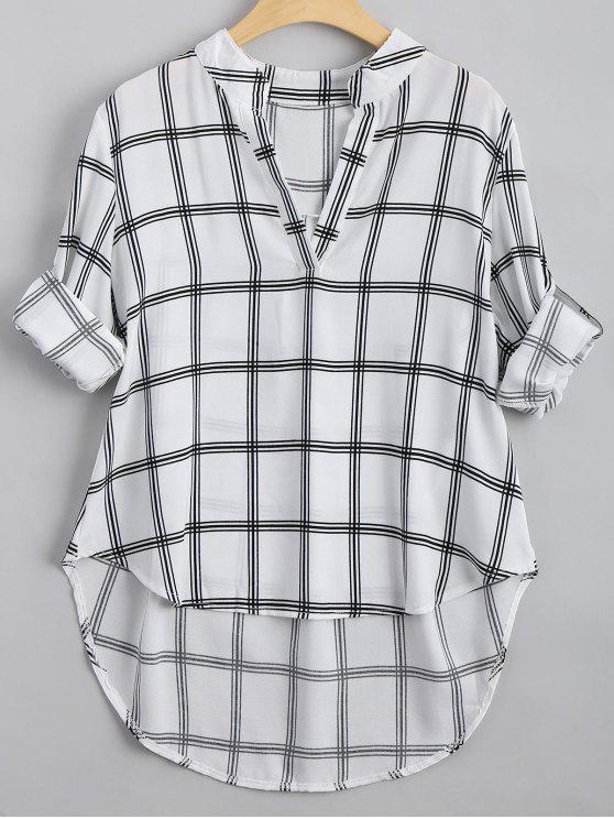 V Neck Checked High Low Blouse