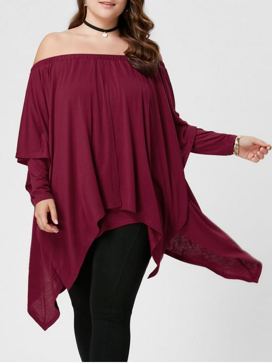 women Plus Size Overlay Handkerchief Top - PEARL AMARANTH XL