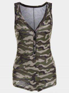 Plunging Neck Sleeveless Camouflage Bodysuit - Camouflage L
