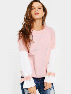 Flare Sleeve Bowknot Contrast Tee - Pink L
