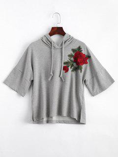 Slit Floral Embroidered Patches Hoodie - Gray S