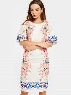 Flare Sleeve Back Slit Floral Print Dress - Floral M