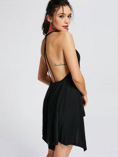 Asymmetrical Backless Mini Dress - Black S