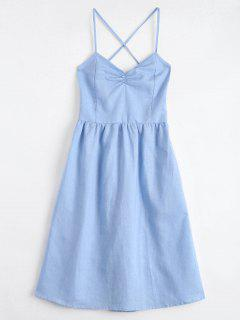 Open Back Criss Cross Ruched Cami Dress - Light Blue M