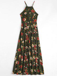 Floral Print Criss Cross Cami Dress - Army Green L