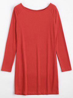 Robe Courte Moulante Déchirée à Manches Longues - Rouge 2xl