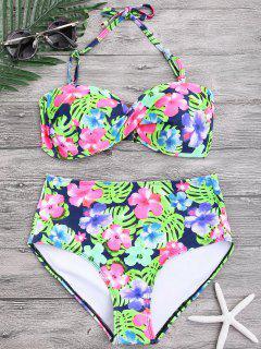 Floral Twist Push Up High Taillen Bikini - Blumen S