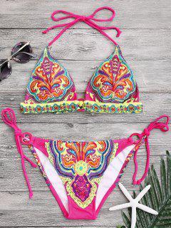 Halter Retro Paisley Print String Bikini - M