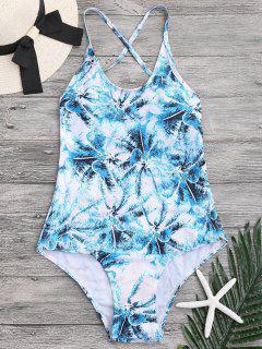 Palm Tree Cross Back One Piece Swimwear - Green L