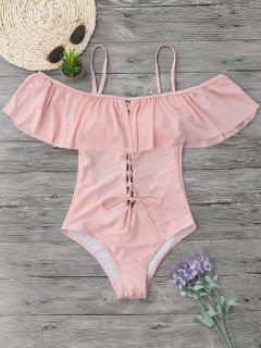 Ruffles Lace Up Backless One Piece Swimwear - Pink Xl