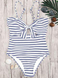 Striped Knot Cut Out One Piece Swimsuit - Grey And White L