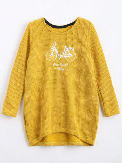 Fuzzy Oversized Embroidered Sweater - Yellow