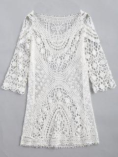 Long Crochet Cut Out Knitwear - White