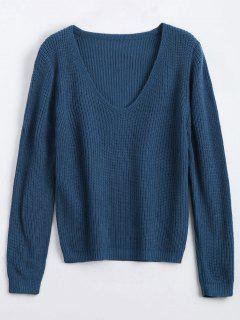 Loose V Neck Chunky Sweater - Deep Blue