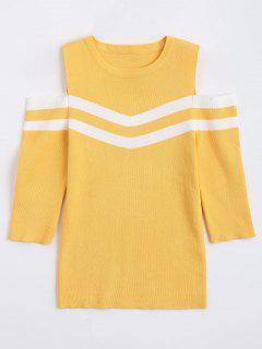 Streifen Panel Kalte Schulter Pullover - Gelb
