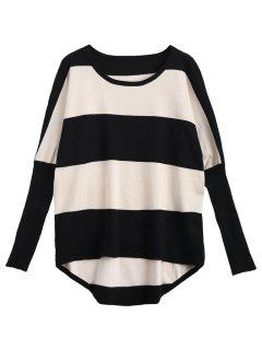 Batwing Contrasting Stripes Sweater - Stripe
