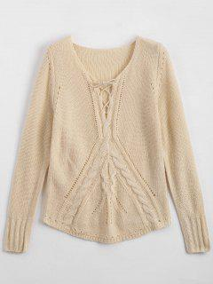 Sheer Lace Up Chunky Sweater - Apricot