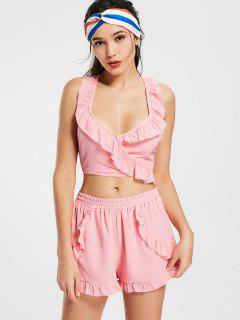 Criss Cross Ruffles Cropped Top And Beach Shorts - Pink