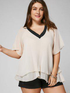 Layered V Neck Plus Size Top - Apricot 4xl