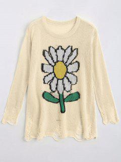 Loose Sunflower Graphic Ripped Sweater - Off-white Xl
