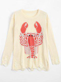 Loose Lobster Graphic Ripped Sweater - Off-white S