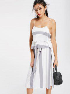 Layers Stripes Tank Top And Bowknot A Line Skirt - Grey And White M