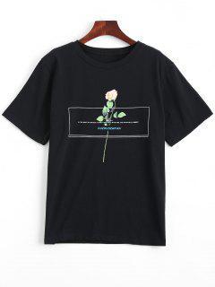 Floral Print Round Collar Tee - Black M