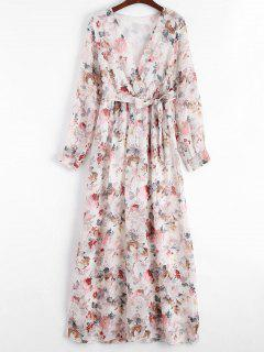 Plunging Neck Floral Print Belted Dress - Floral L