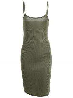 Slit Ribbed Bodycon Slip Dress - Army Green S
