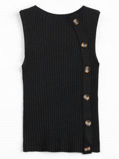 Side Buttoned Vest Ribbed Sweater - Black