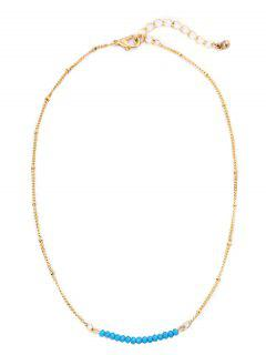 Beaded Chain Collarbone Necklace - Blue