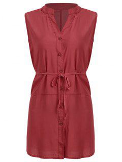 Belted Button Up Longline Shirt - Red L