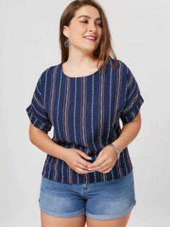 Cuffed Stripe Plus Size Top - Cadetblue 3xl