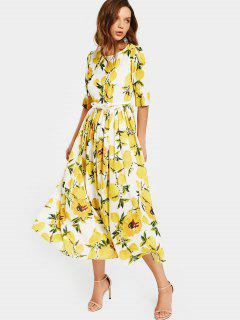 Lemon Print Belted Dress - White And Yellow 2xl