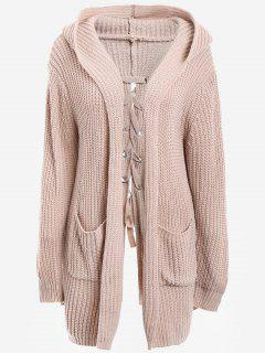 Back Lace Up Hooded Cardigan With Pockets - Nude Pink
