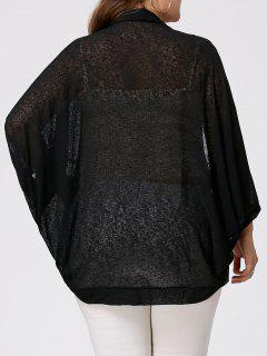 Plus Size Semi Sheer Batwing Sleeve Collarless Top - Black 4xl