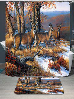 Snowfield Deer Printed Waterproof Shower Curtain And Rug - Brown W79 Inch * L71 Inch