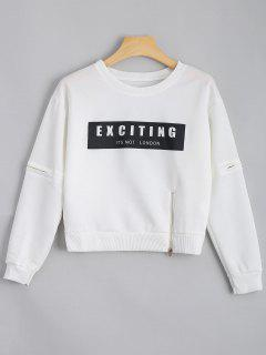 Crew Neck Zippered Letter Sweatshirt - White