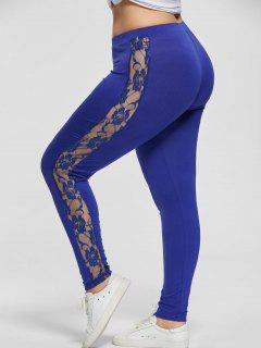 Plus Size Lace Insert Sheer Leggings - Blue 4xl