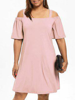 Plus Size Cold Shoulder Half Sleeve Dress - Light Pink Xl