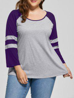 Plus Size Raglan Sleeve Two Tone Top - Purple 5xl