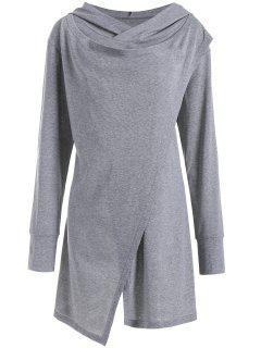 Hooded Overlap Asymmetrical Plus Size Top - Gray 5xl