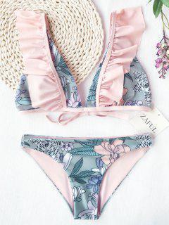 Ruffles Plunging Neck Flower Bikini - Floral M