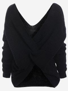 Plunging Neck Twist Back Sweater - Black