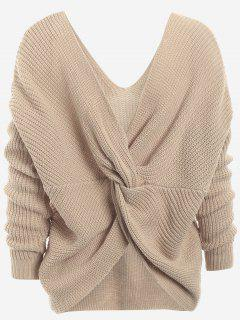Plunging Neck Twist Back Sweater - Khaki
