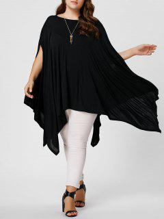 Plus Size Asymmetric Batwing Poncho T-shirt - Black 3xl