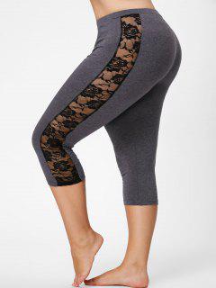 Lace Mesh Panel Plus Size Capri Leggings - Gray 4xl