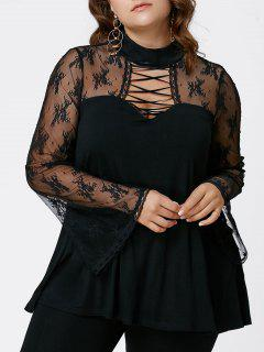 Plus Size Flare Sleeve Criss Cross See Thru Blouse - Black Xl