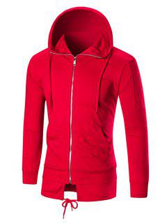 Lacing Hem Distressed Zip Up Hoodie - Red 2xl