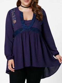 Plus Size Lace Insert High Niedrige Tunika Bluse - Weinbeere 5xl